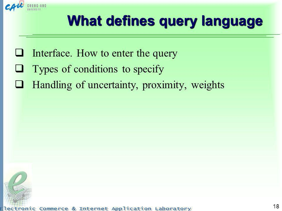 What defines query language