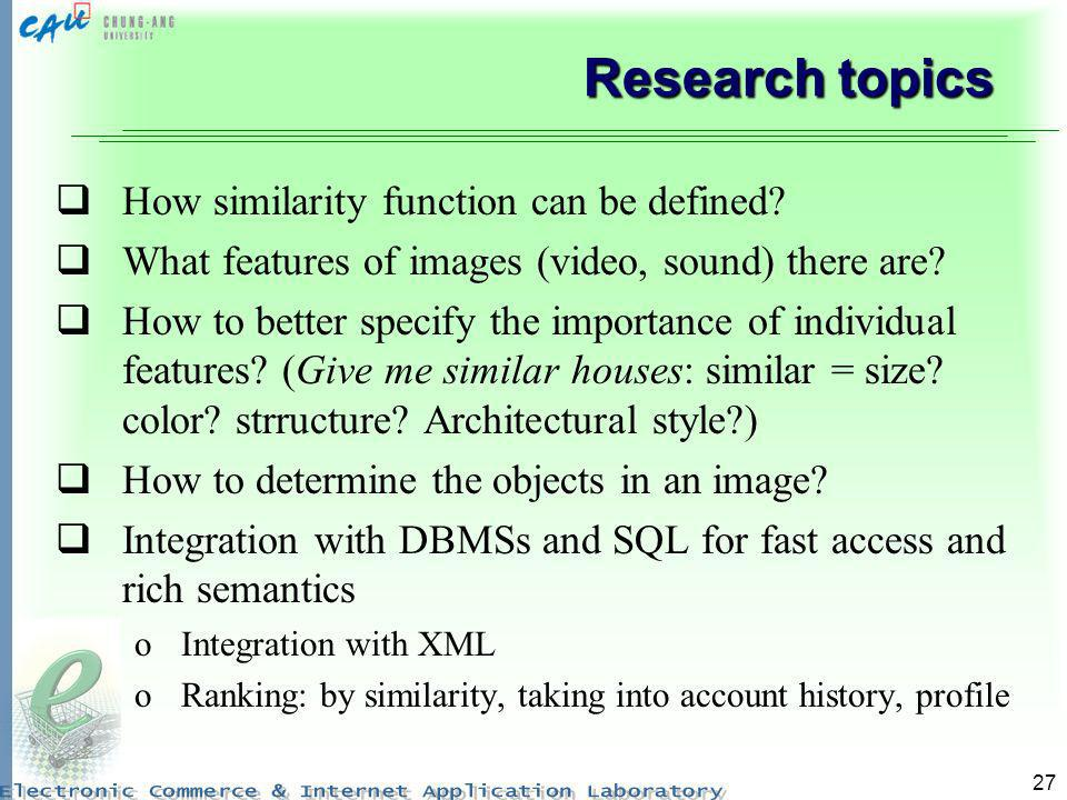 Research topics How similarity function can be defined