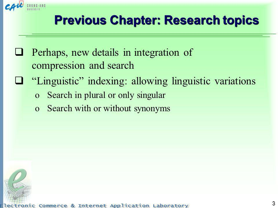 Previous Chapter: Research topics