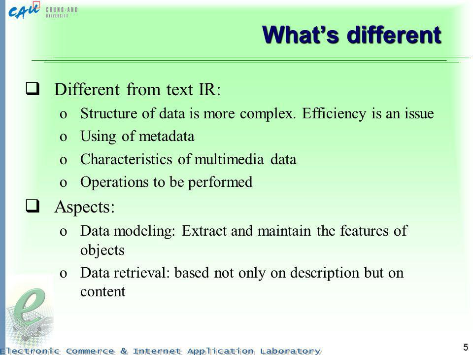 What's different Different from text IR: Aspects:
