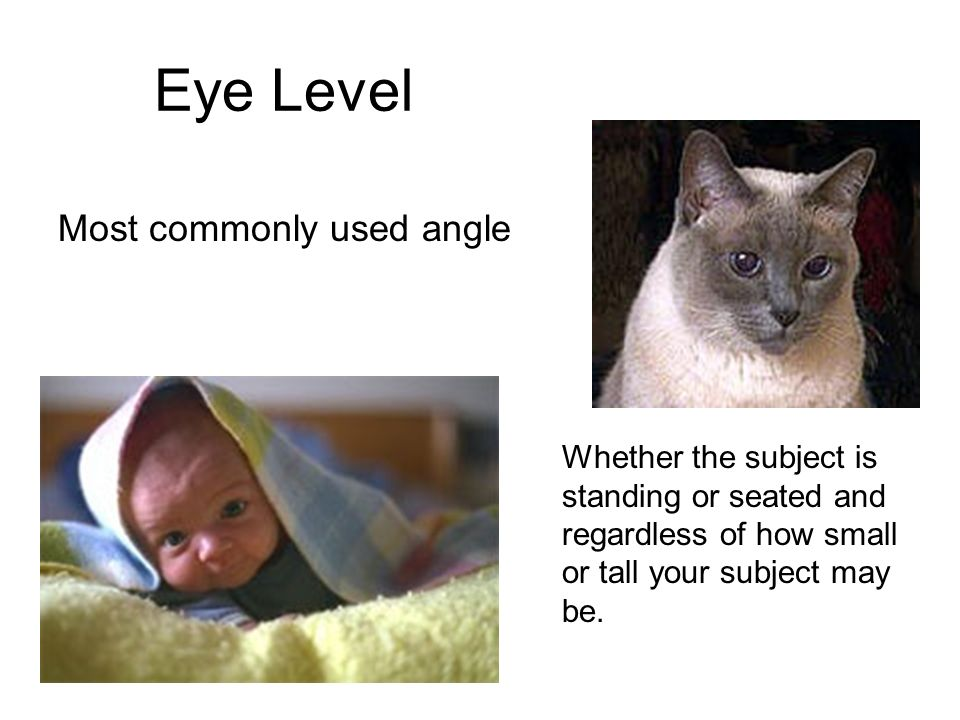 Eye Level Most commonly used angle