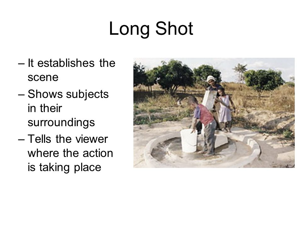 Long Shot It establishes the scene