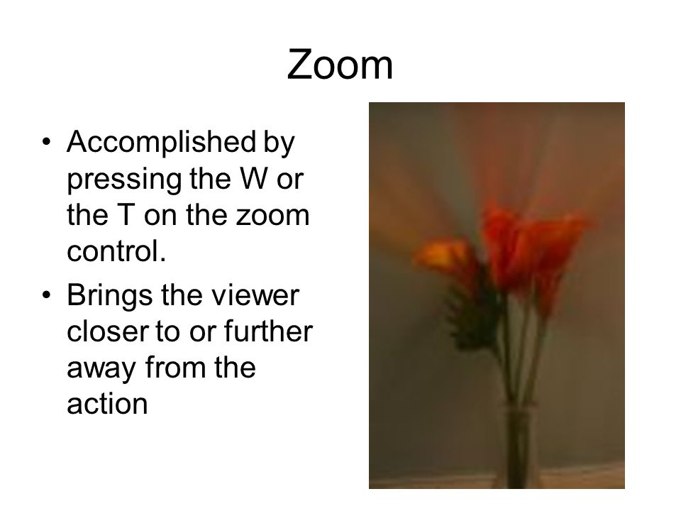 Zoom Accomplished by pressing the W or the T on the zoom control.