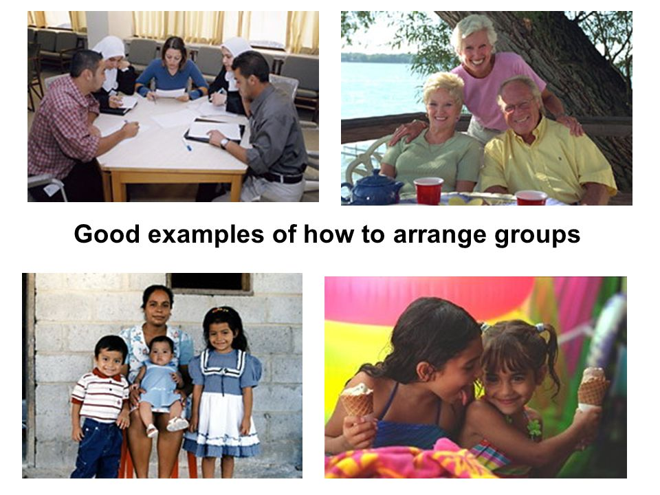 Good examples of how to arrange groups