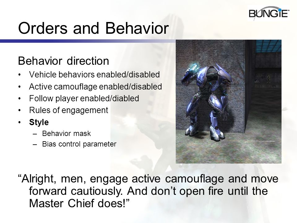 Orders and Behavior Behavior direction