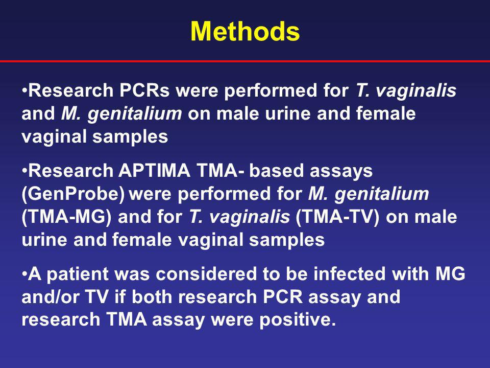 Methods Research PCRs were performed for T. vaginalis and M. genitalium on male urine and female vaginal samples.