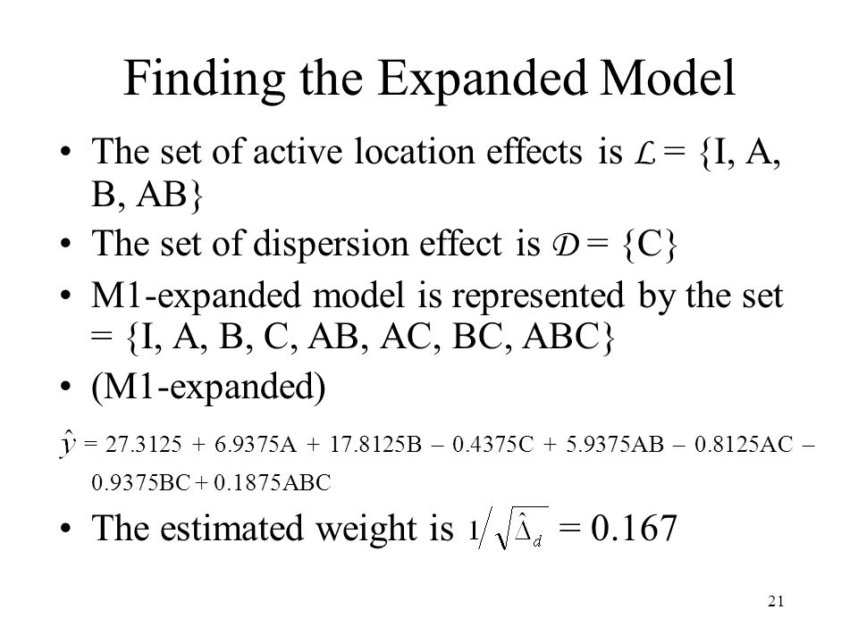 Finding the Expanded Model