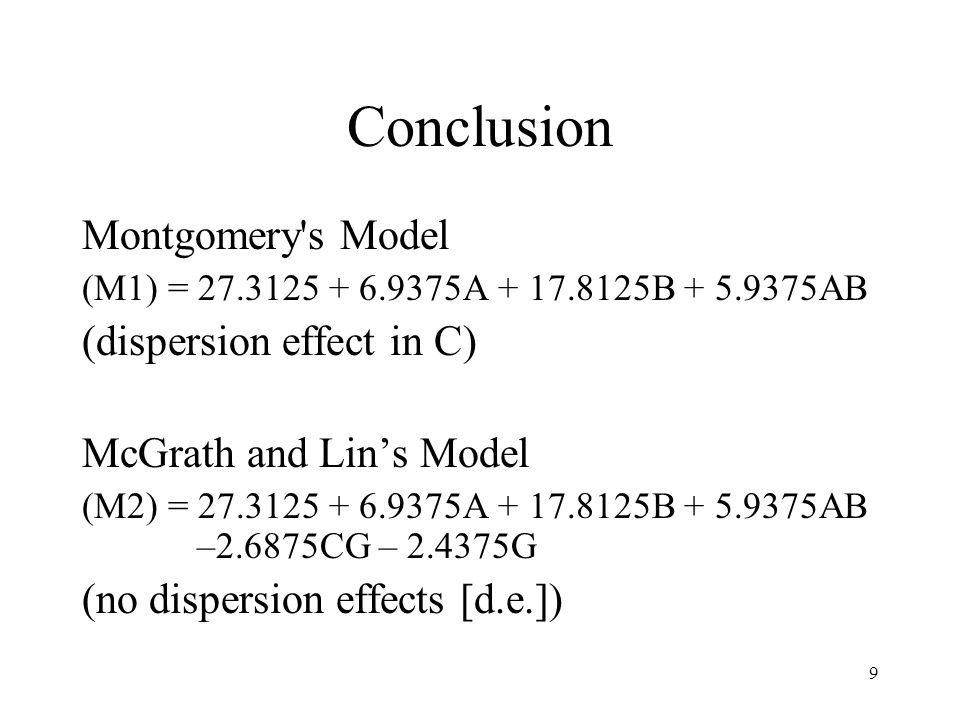 Conclusion Montgomery s Model (dispersion effect in C)