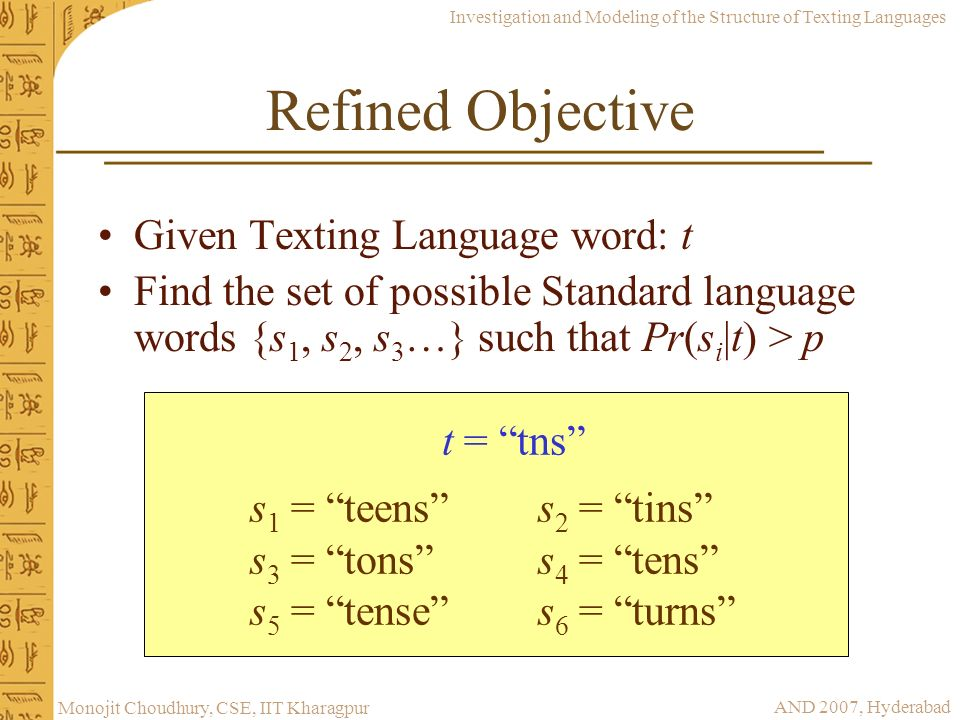 Refined Objective Given Texting Language word: t