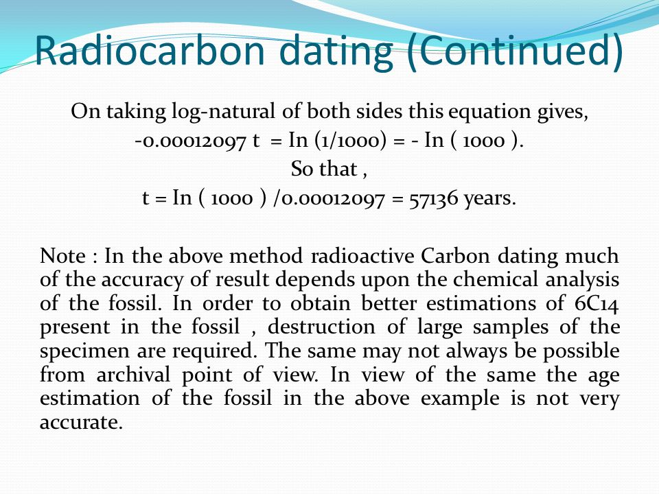 carbon dating refers to a method of calculating