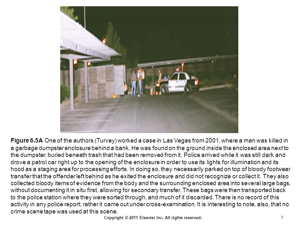 Figure 6.5A One of the authors (Turvey) worked a case in Las Vegas from 2001, where a man was killed in a garbage dumpster enclosure behind a bank.