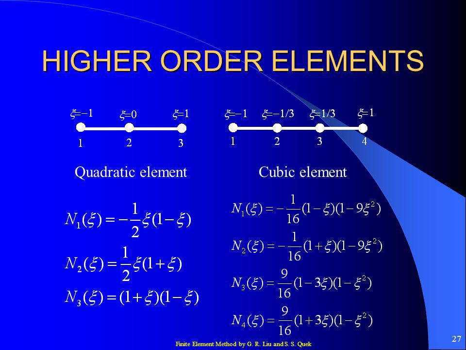 HIGHER ORDER ELEMENTS Quadratic element Cubic element