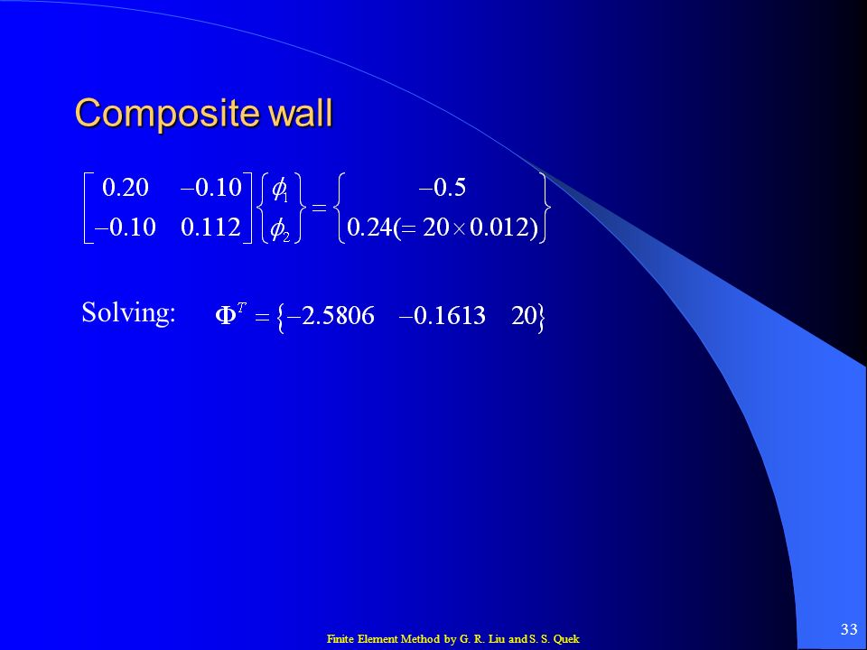 Composite wall Solving: