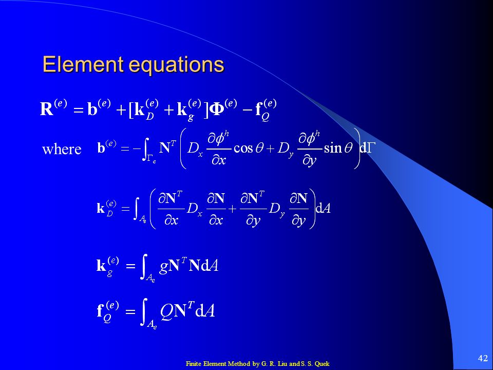 Element equations where