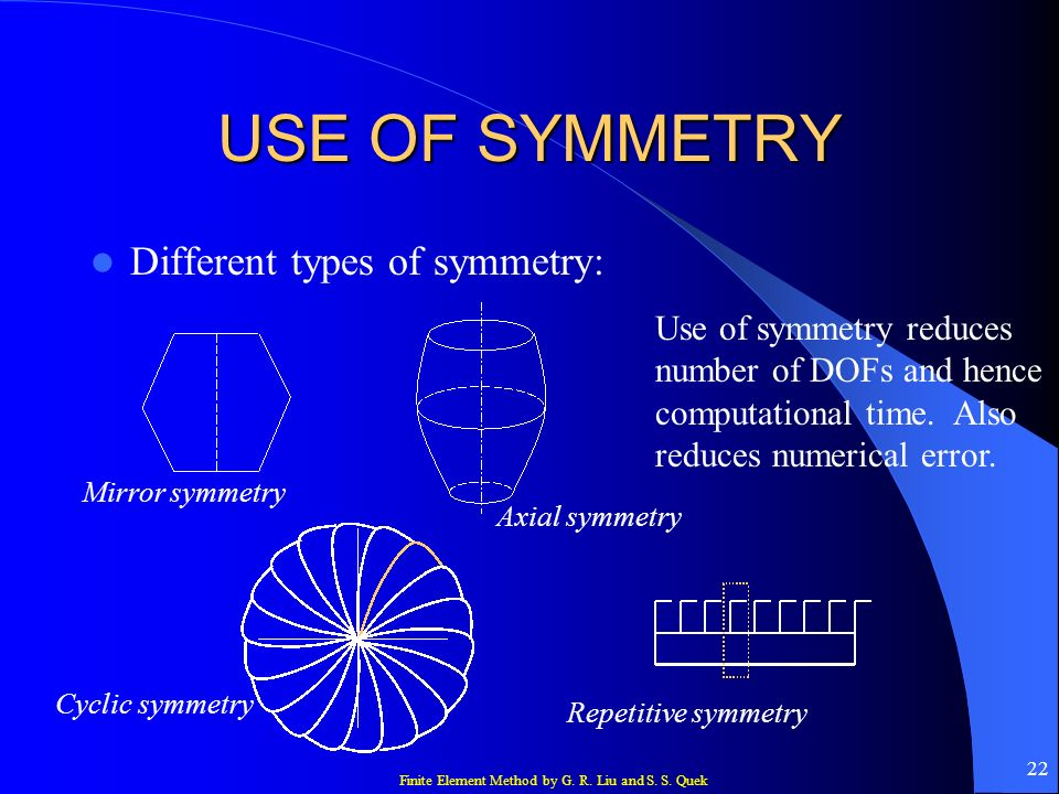 USE OF SYMMETRY Different types of symmetry: