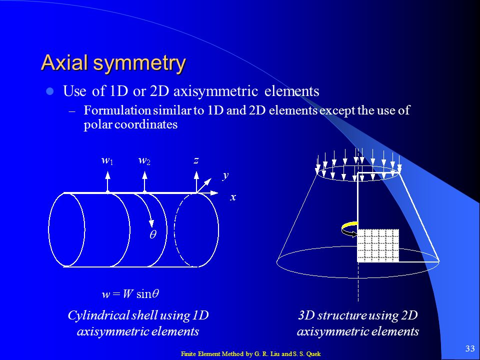 Axial symmetry Use of 1D or 2D axisymmetric elements