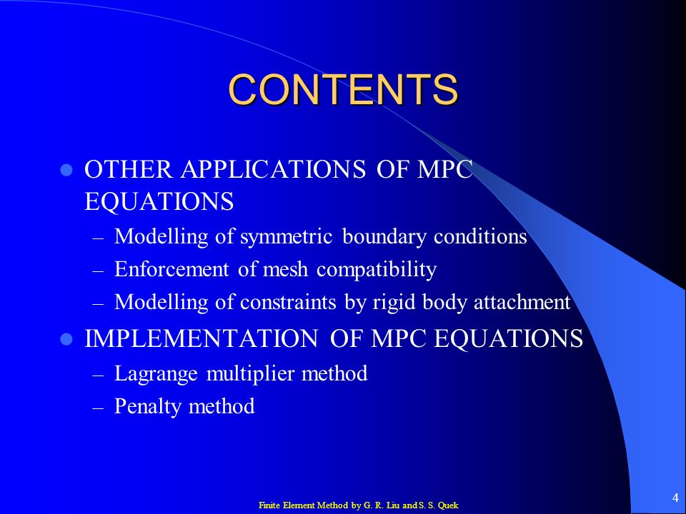 CONTENTS OTHER APPLICATIONS OF MPC EQUATIONS