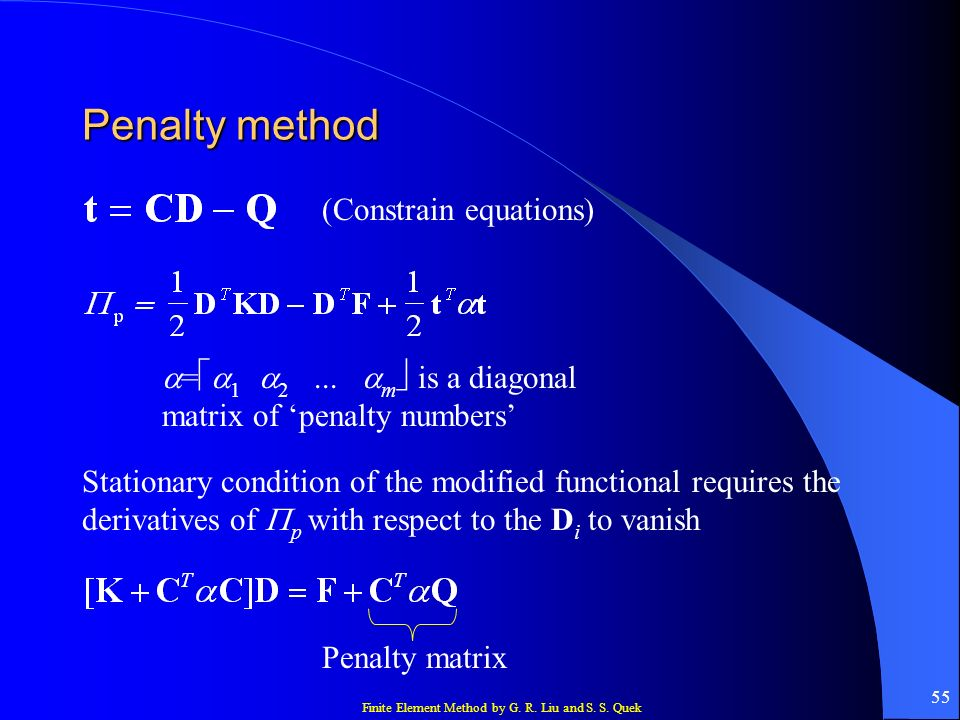 Penalty method (Constrain equations)