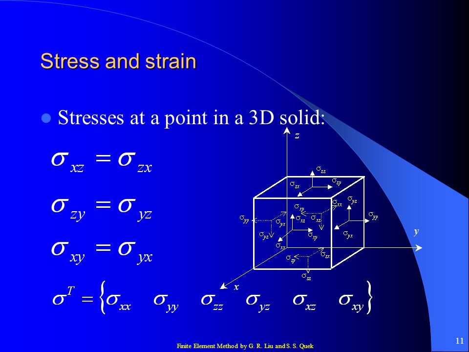 Stress and strain Stresses at a point in a 3D solid: