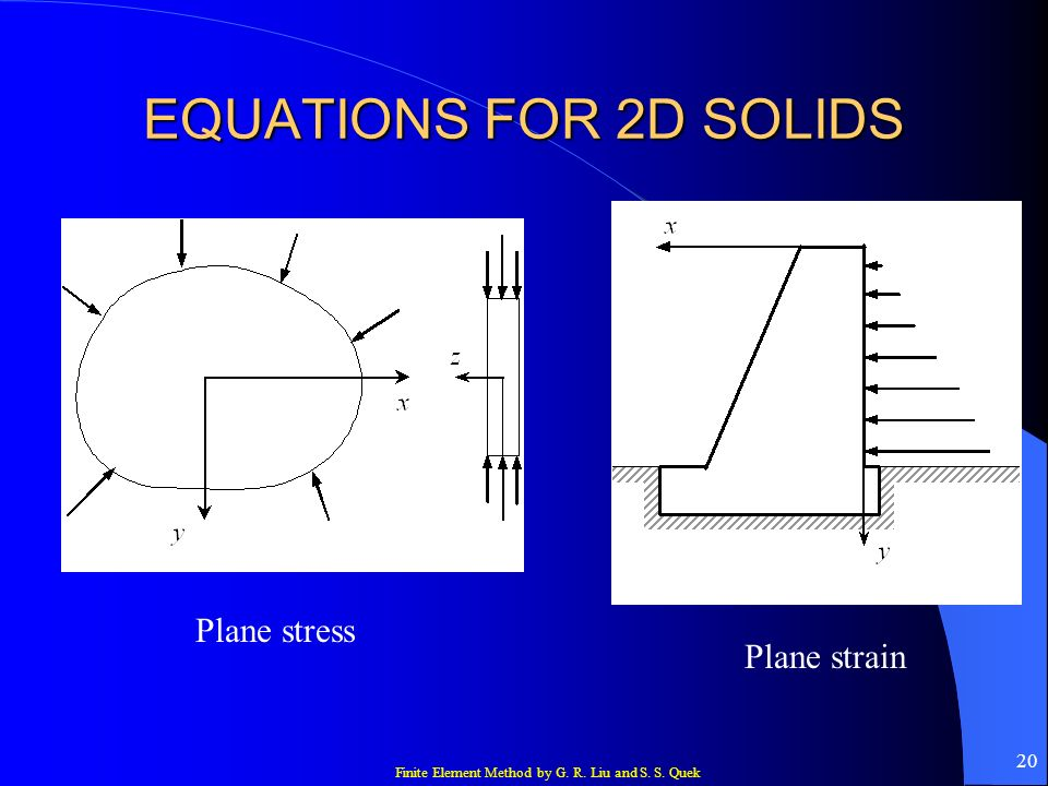 EQUATIONS FOR 2D SOLIDS Plane stress Plane strain