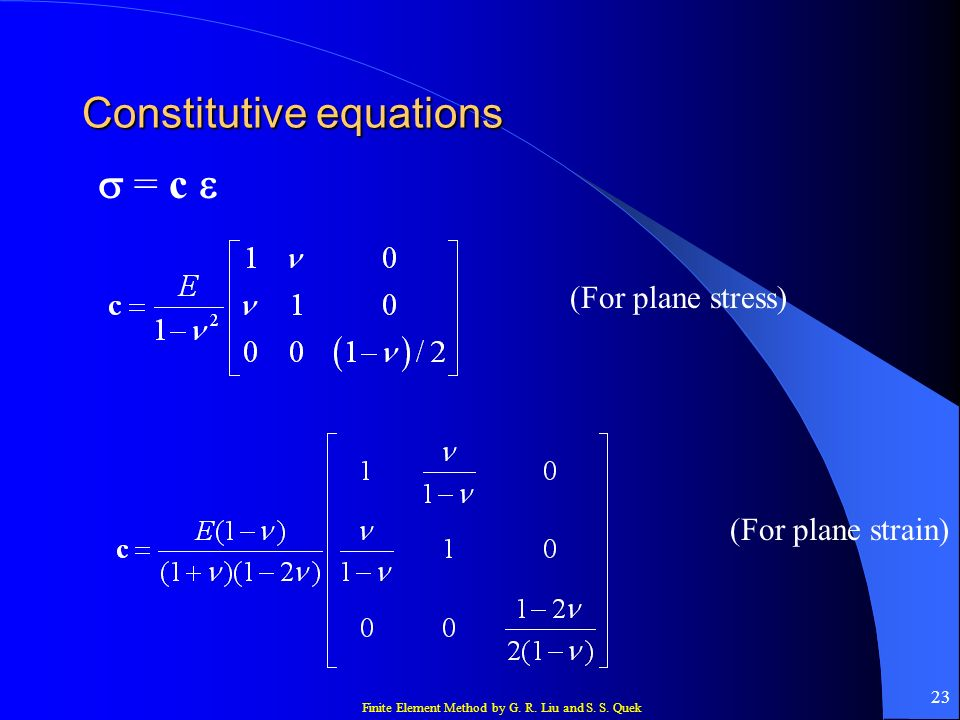 Constitutive equations