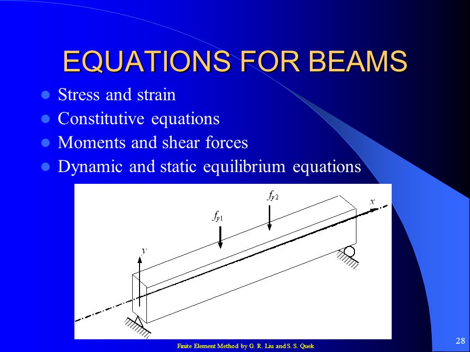 EQUATIONS FOR BEAMS Stress and strain Constitutive equations