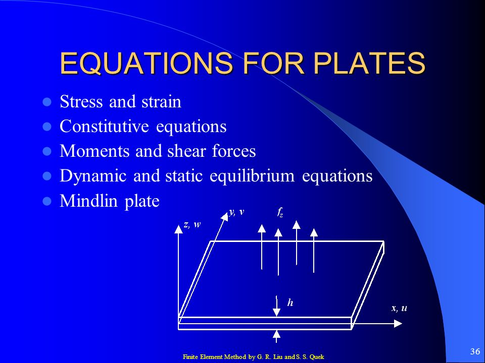 EQUATIONS FOR PLATES Stress and strain Constitutive equations