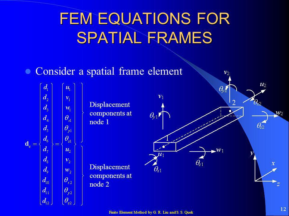 FEM EQUATIONS FOR SPATIAL FRAMES