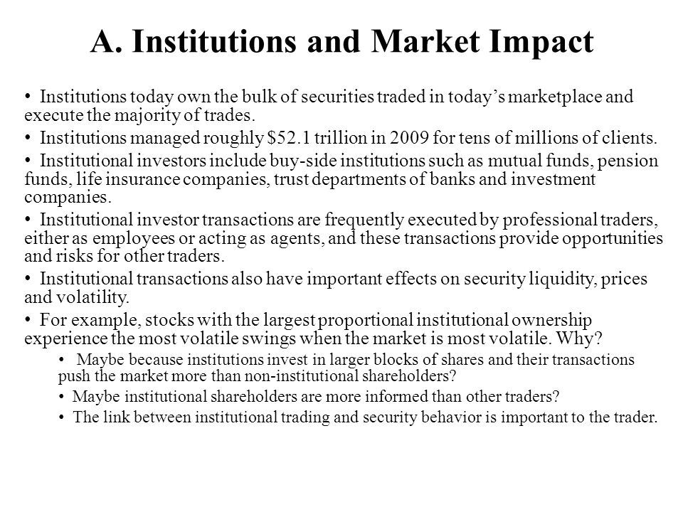 A. Institutions and Market Impact
