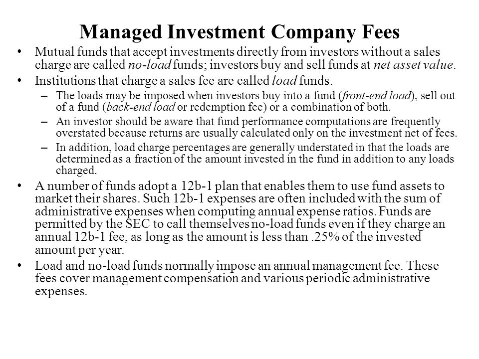 Managed Investment Company Fees
