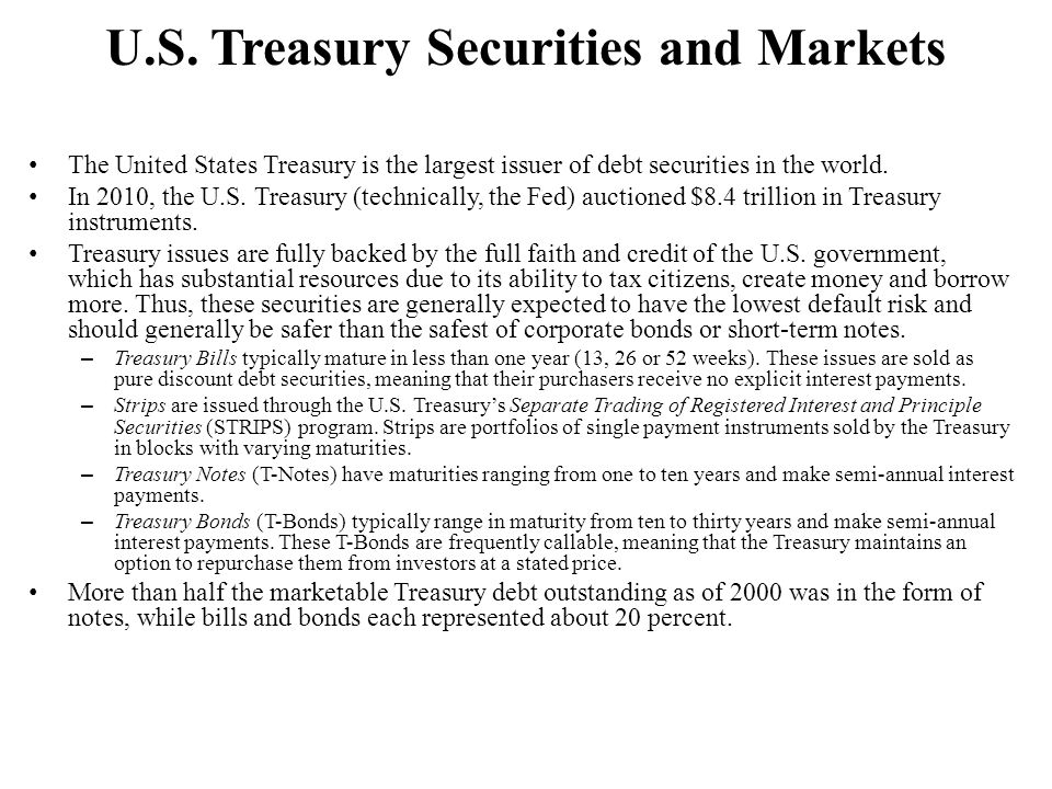 U.S. Treasury Securities and Markets