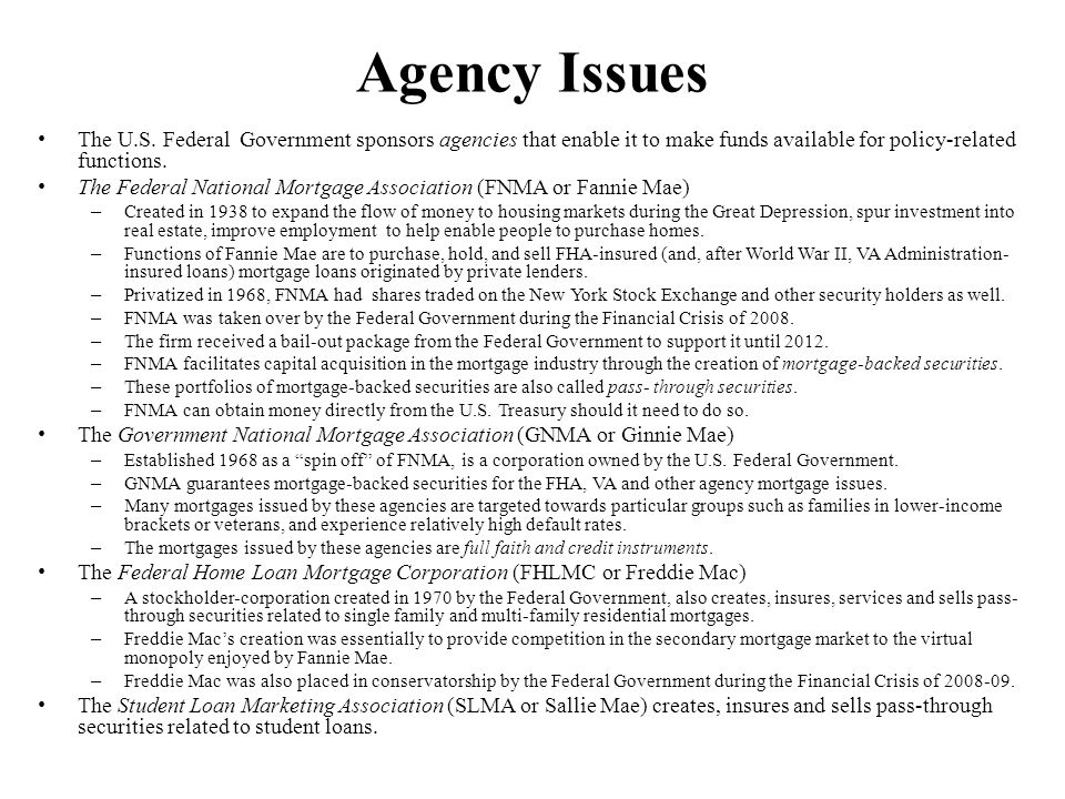 Agency Issues The U.S. Federal Government sponsors agencies that enable it to make funds available for policy-related functions.