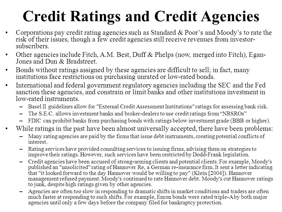 Credit Ratings and Credit Agencies