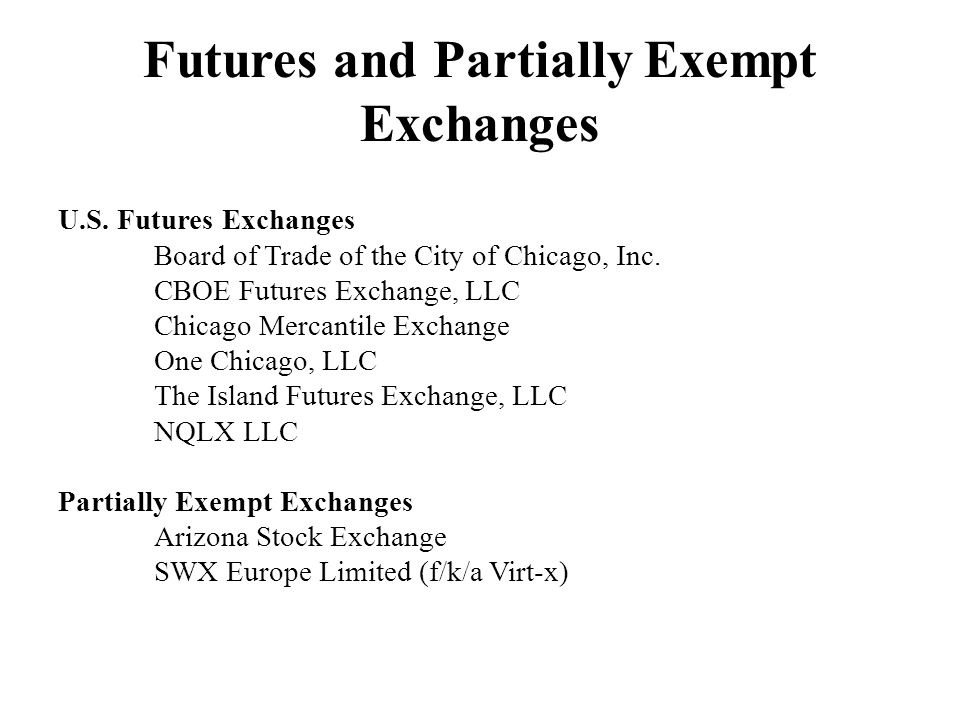 Futures and Partially Exempt Exchanges