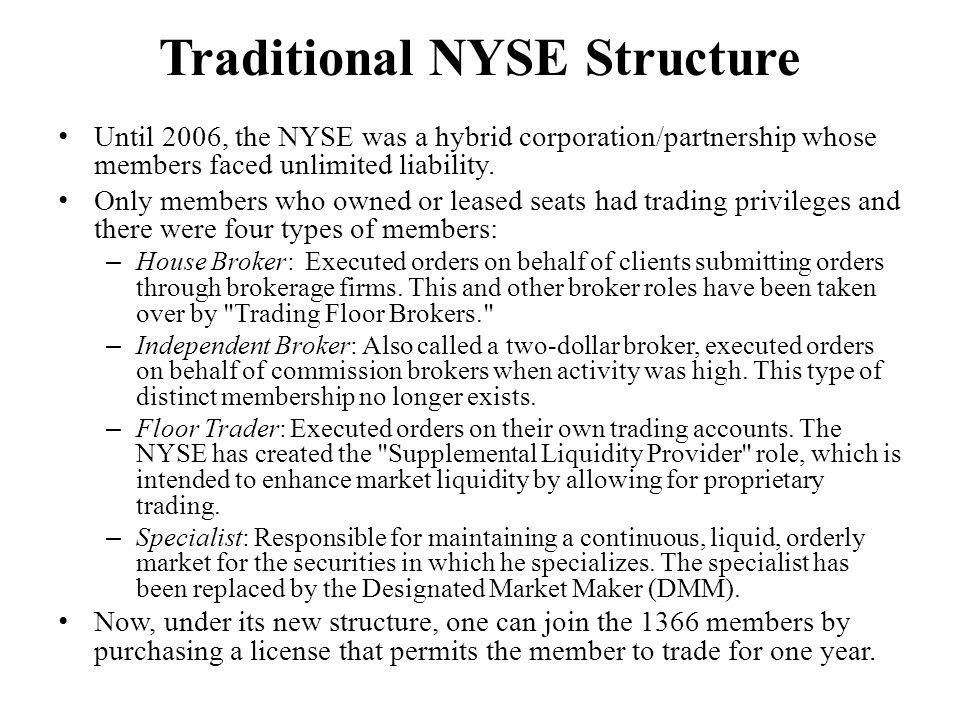 Traditional NYSE Structure