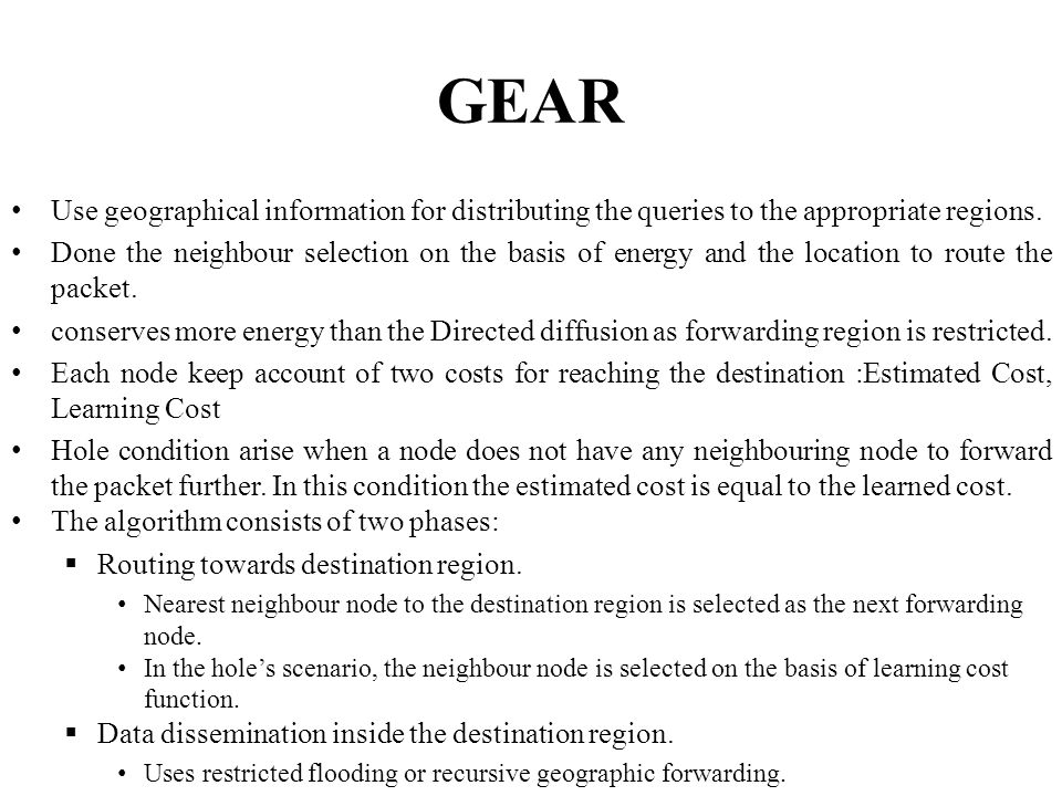 GEAR Use geographical information for distributing the queries to the appropriate regions.