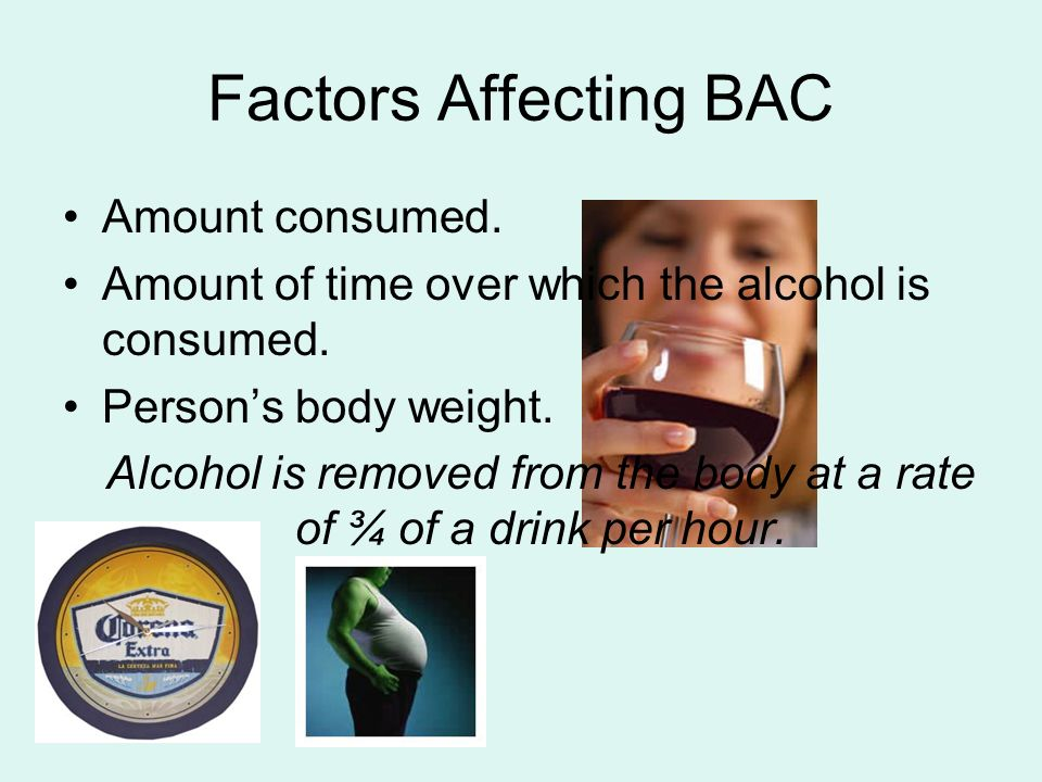 Alcohol is removed from the body at a rate of ¾ of a drink per hour.