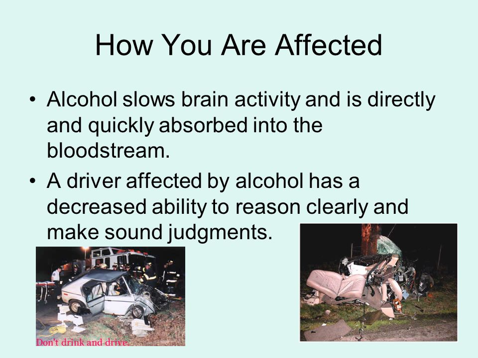 How You Are Affected Alcohol slows brain activity and is directly and quickly absorbed into the bloodstream.