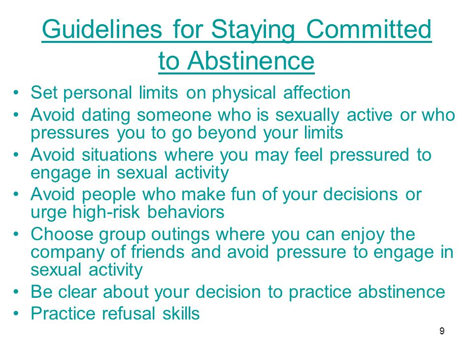 Guidelines for Staying Committed to Abstinence