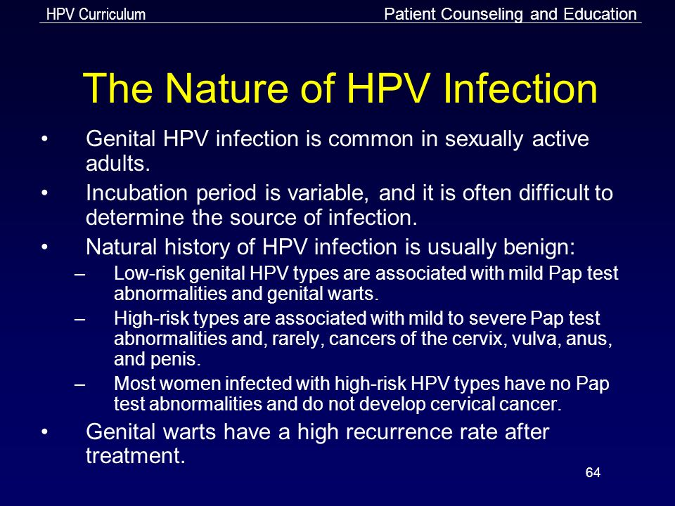 Incubation period of human papillomavirus