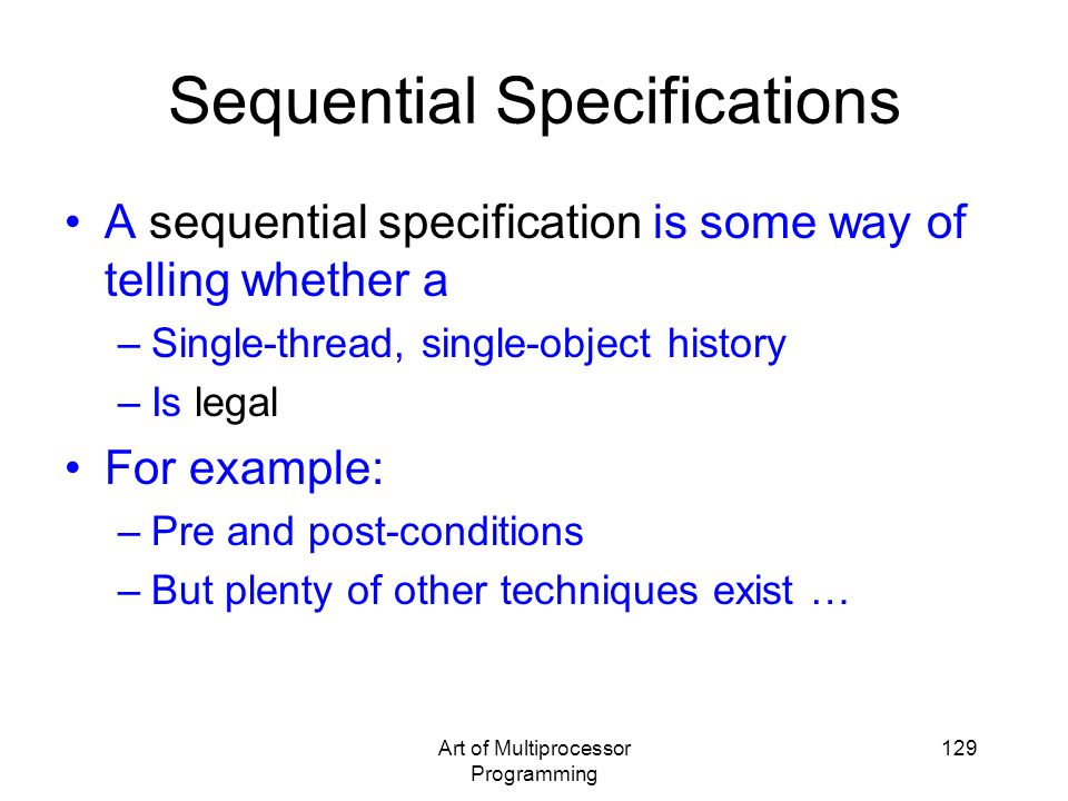 Sequential Specifications