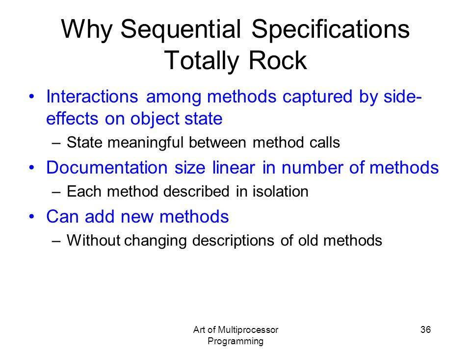 Why Sequential Specifications Totally Rock