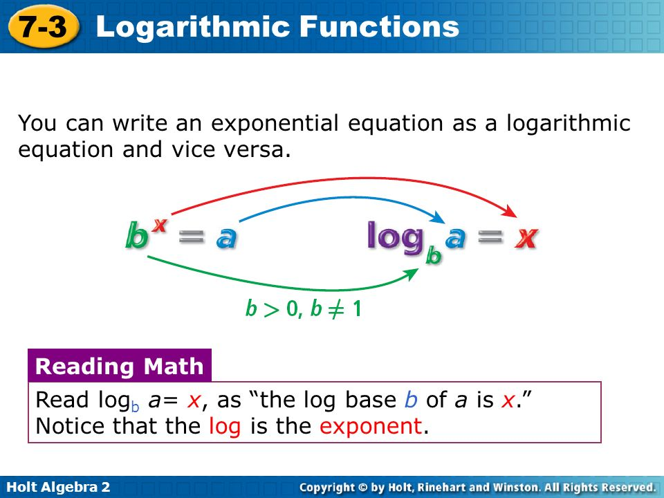 You can write an exponential equation as a logarithmic equation and vice versa.