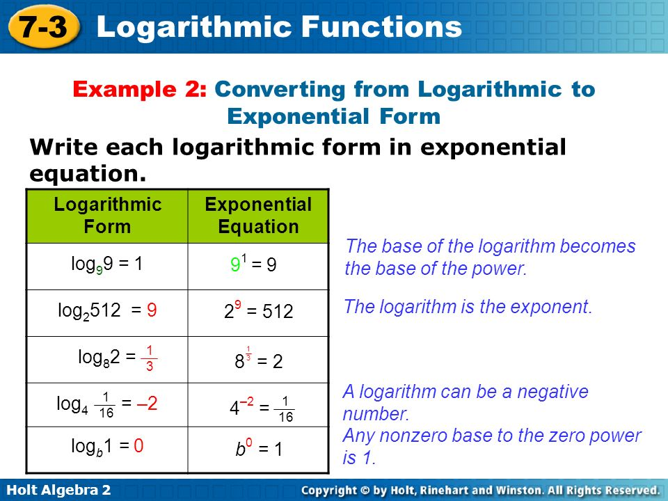 Example 2: Converting from Logarithmic to Exponential Form