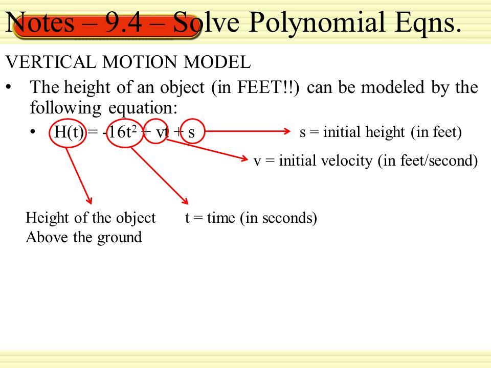 vertical motion model calculator