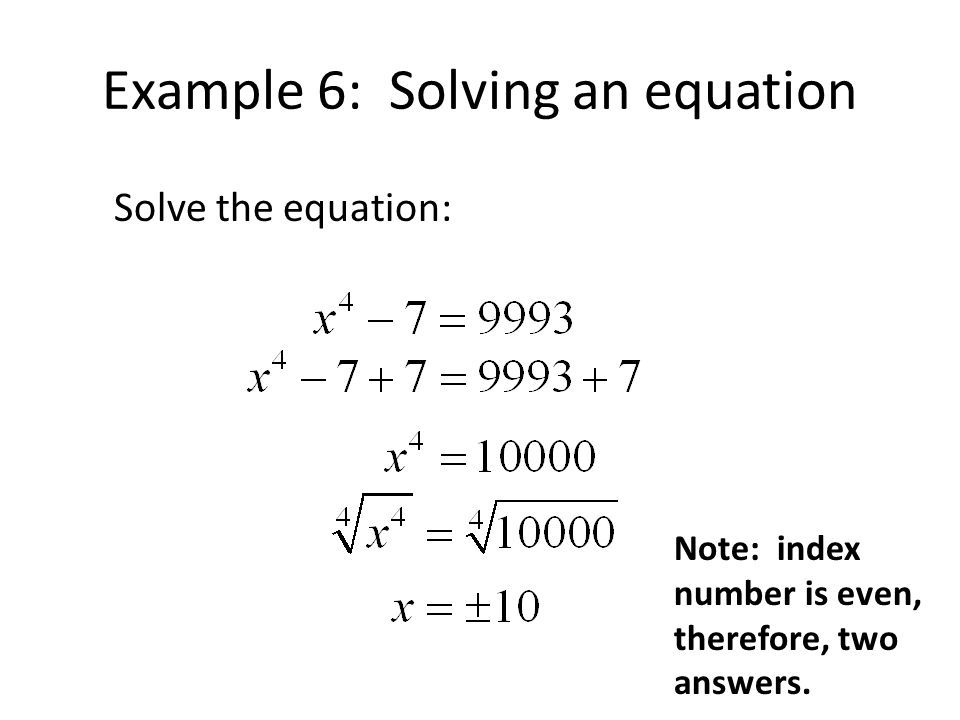 Example 6: Solving an equation
