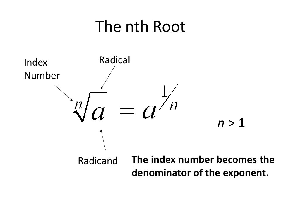 The nth Root Radical Index Number