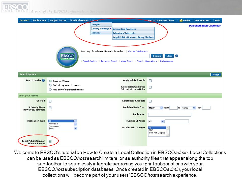 Welcome to EBSCO's tutorial on How to Create a Local Collection in EBSCOadmin. Local Collections
