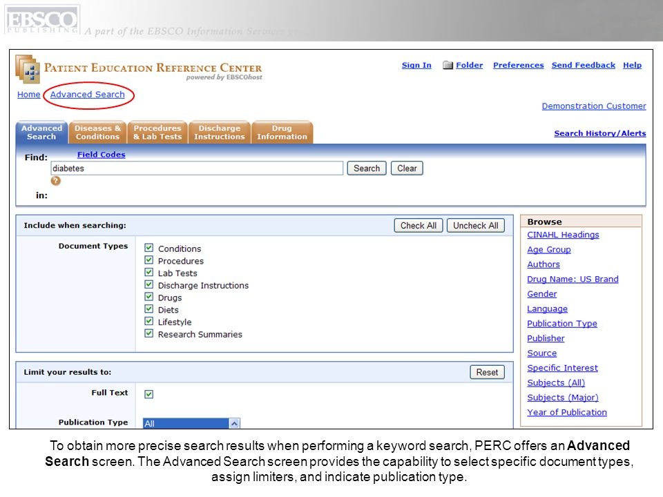 To obtain more precise search results when performing a keyword search, PERC offers an Advanced Search screen.