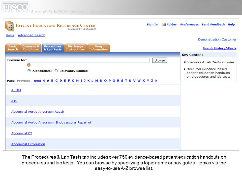 The Procedures & Lab Tests tab includes over 750 evidence-based patient education handouts on procedures and lab tests.
